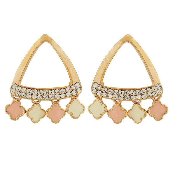 Dashing Pink Off-White Stone Crystals Cocktail Drop Earrings - MCHUJE4AG277
