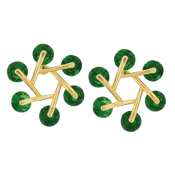 Charming Green American Diamond Everyday Stud Earrings - MCHUJE4AG279