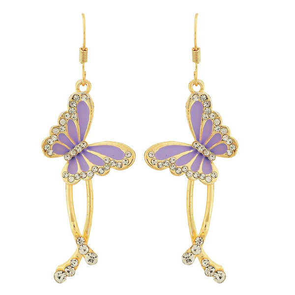 Classy Blue Gold Stone Crystals Party Dangler Earrings - MCHUJE4AG307