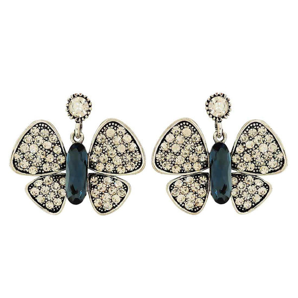 Fab Blue Stone Crystals Cocktail Drop Earrings - MCHUJE4AG316