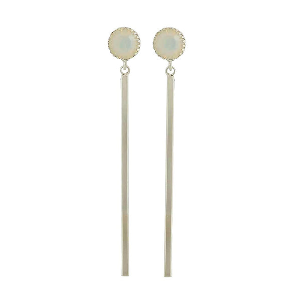 Smashing Off-White Silver Designer College Drop Earrings - MCHUJE4AG317