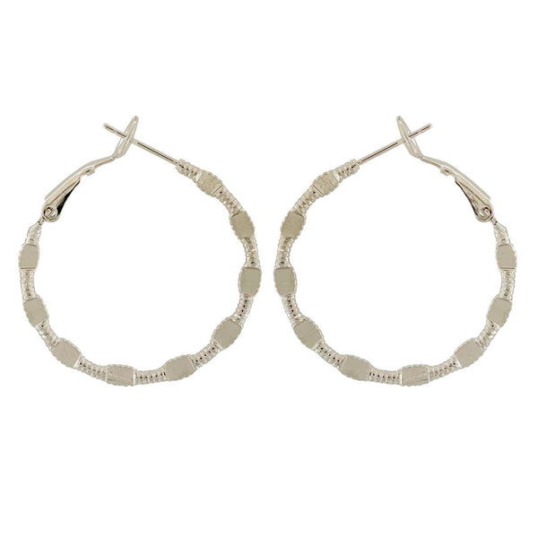 Pretty Silver Designer Party Hoop Earrings - MCHUJE1OT1