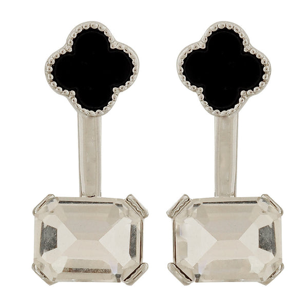 Lovely Black Stone Crystals Party Drop Earrings - MCHUJE1OT12