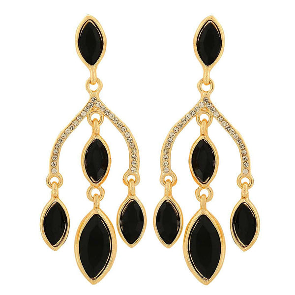 Dashing Black Stone Crystals Party Drop Earrings - MCHUJE1OT22