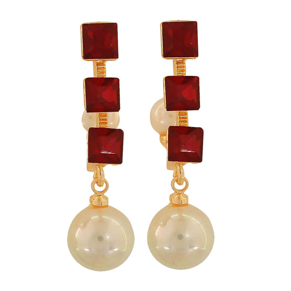 Chic Red White Indian Ethnic Party Drop Earrings - MCHUJE1OT27