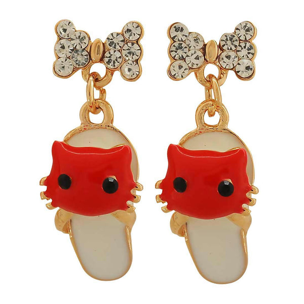 Amazing Red Off-White Stone Crystals Party Drop Earrings - MCHUJE1OT31