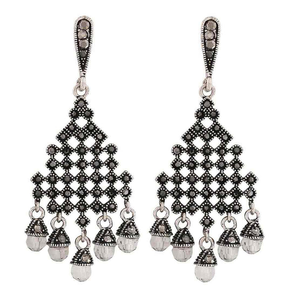 Posh Grey Stone Crystals Party Drop Earrings - MCHUJE1OT70