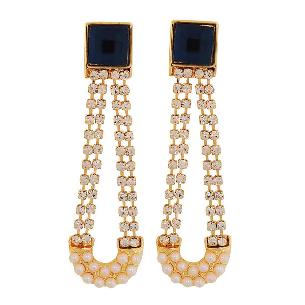 Charming Blue White Stone Crystals Party Drop Earrings - MCHUJE1OT79