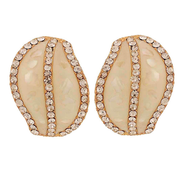 Darling White Stone Crystals Party Clip On Earrings - MCHUJE1OT91