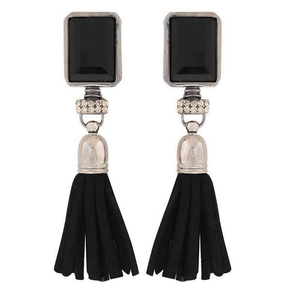 Sexy Black Silver Stone Crystals Party Tassel Earrings - MCHUJE1OT96