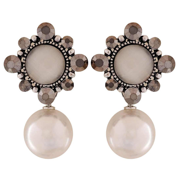 Class White Grey Pearl Party Clip On Earrings - MCHUJE1OT97