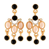 Unique Black Gold Stone Crystals Party Drop Earrings - MCHUJE1OT98