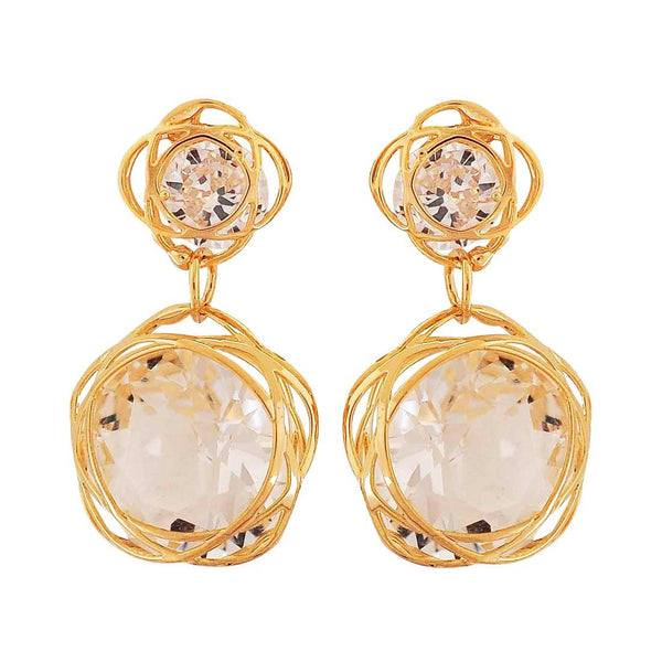 Sparkling Gold Stone Crystals Party Drop Earrings - MCHUJE1OT111