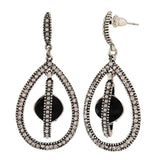 Beautiful Silver Black Stone Crystals Party Drop Earrings - MCHUJE1OT119