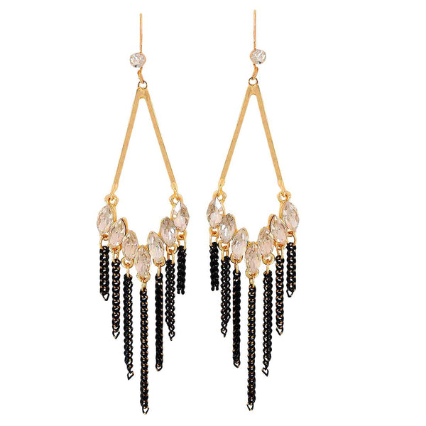 Cool Gold White Stone Crystals Party Dangler Earrings - MCHUJE1OT125