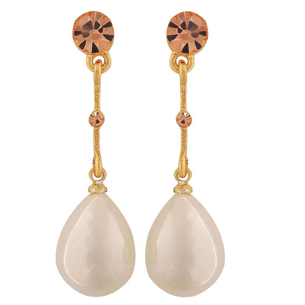 Suave Gold White Pearl Party Drop Earrings - MCHUJE1OT127