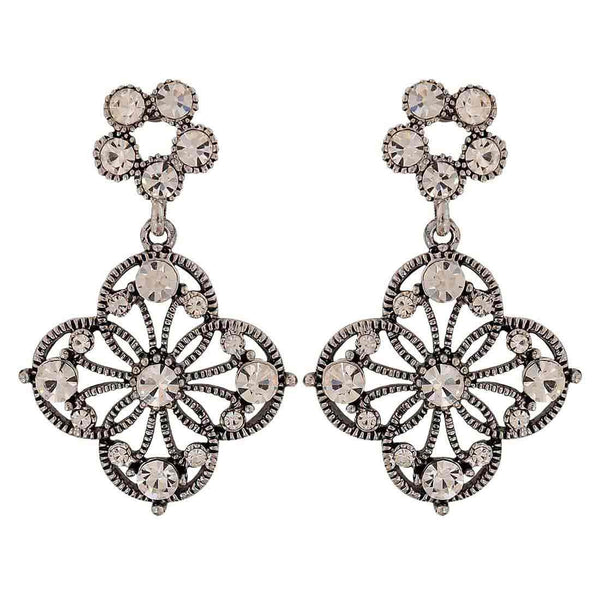 Chic Silver American Diamond Party Drop Earrings - MCHUJE1OT133