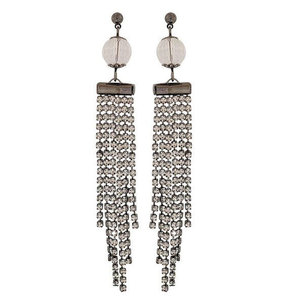 Cute White Grey Stone Crystals Party Drop Earrings - MCHUJE1OT139