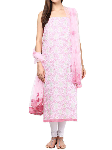 Pink Cotton Suit From Lucknow - SL-PLSU7JY64