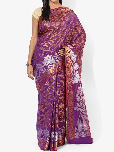 Banarasi Saree In Organza Purple - RB-BPBUSA11JL310