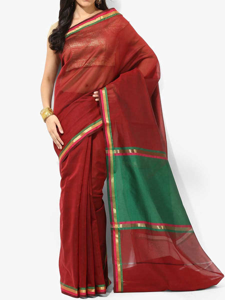 Banarasi Saree In Faux Maroon - RB-BPBUSA11JL279