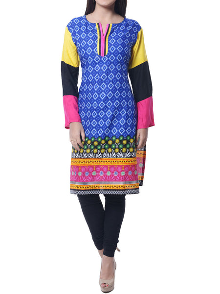 Multi- Printed Cotton Kurta  From Jaipur From Jaipur - NPJRKL11OT72