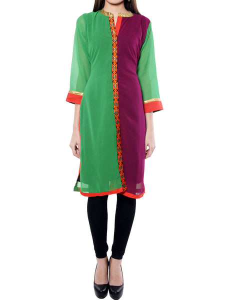 Green  And Purple Georgette  Kurta From Jaipur - NPJRKL11OT2