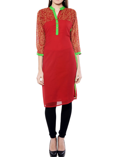 Red & Golden Printed Georgette Kurta From Jaipur - NPJRKL11OT92