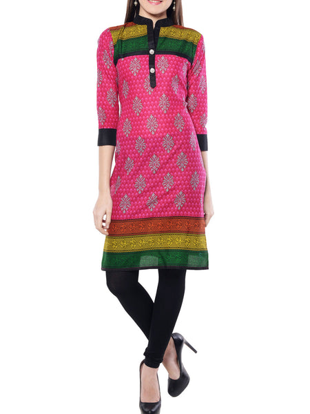 Pink Printed Cotton  Kurta From Jaipur - NPJRKL11OT17