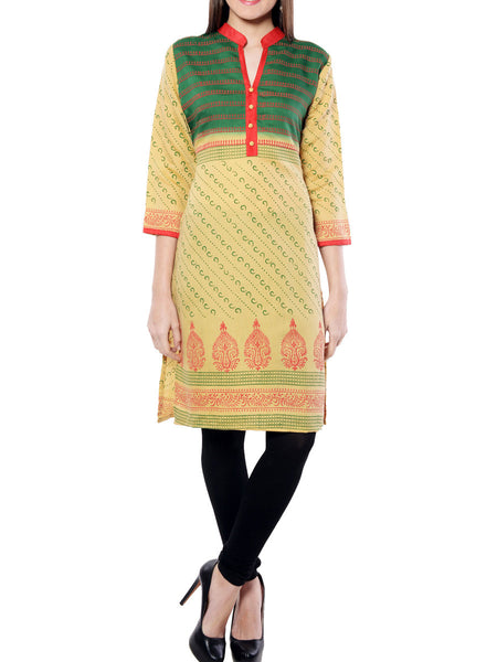 Green  And Yellow Printed Rayon  Kurta From Jaipur - NPJRKL11OT19