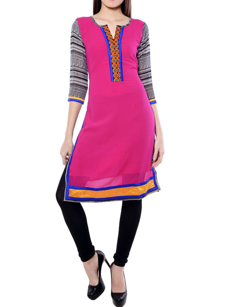 Pink  And Black Georgette  Kurta From Jaipur - NPJRKL11OT23