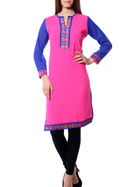 Pink  And Blue Georgette  Kurta From Jaipur - NPJRKL11OT41