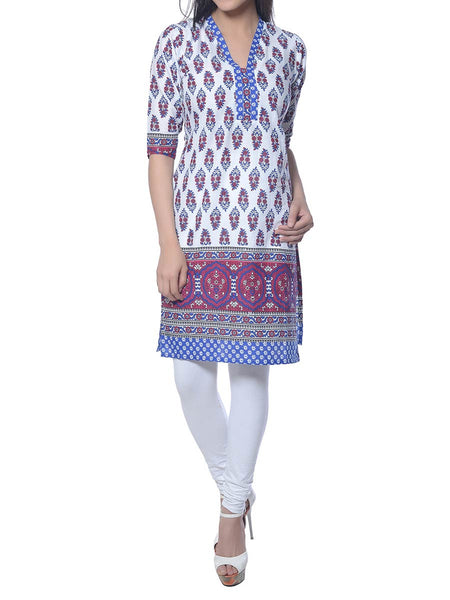 White Printed Cotton Kurta  From Jaipur - NPJRKL10NR1