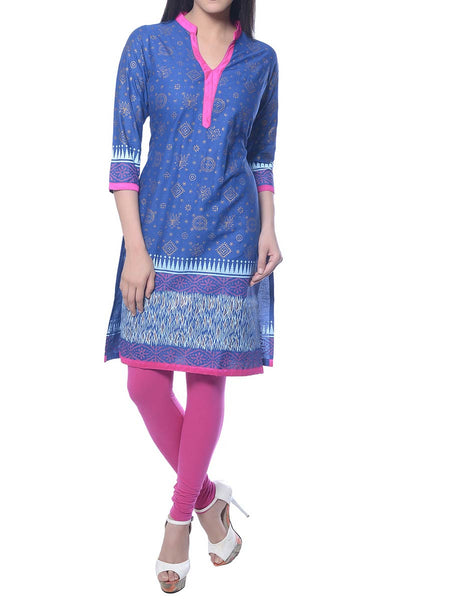 Blue Printed Cotton Kurta  From Jaipur - NPJRKL10NR3