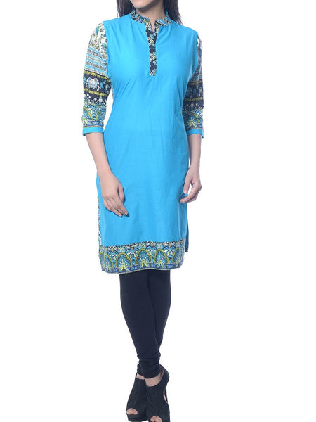 Blue Printed Cotton Kurta  From Jaipur - NPJRKL10NR5