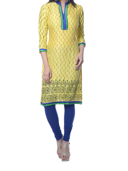 Yellow Block Print Rayon Kurta  From Jaipur - NPJRKL9DC6