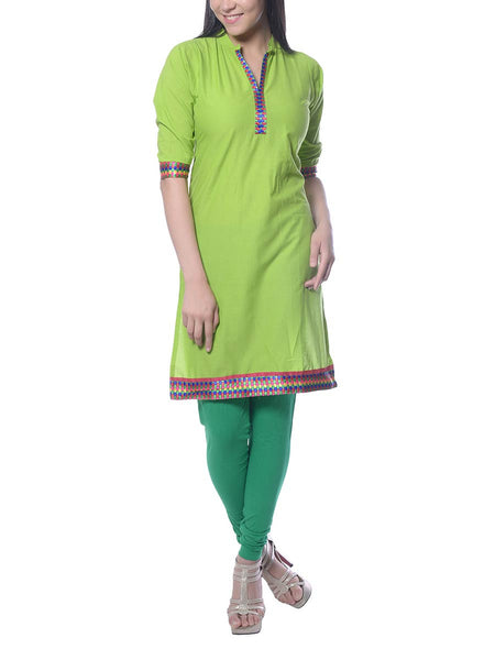Green Printed Cotton Kurta  From Jaipur - NPJRKL10NR15