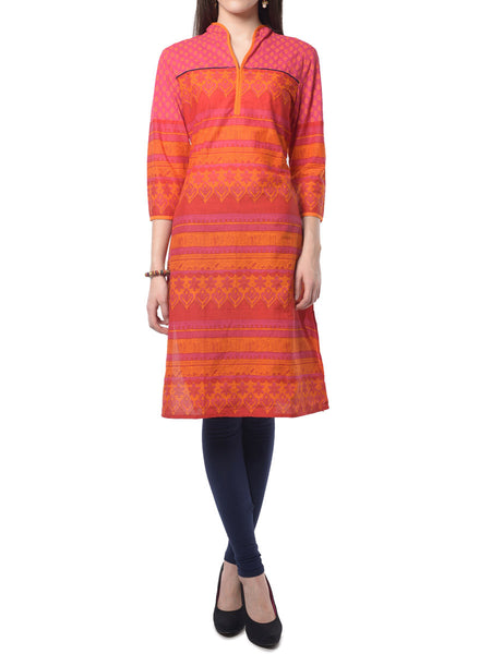 Pink & Orange Printed Kurta From Jaipur - NPJRKL7FB18