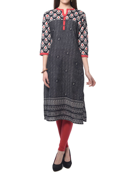 Black Printed Cotton Kurta  From Jaipur - NPJRKL7FB19