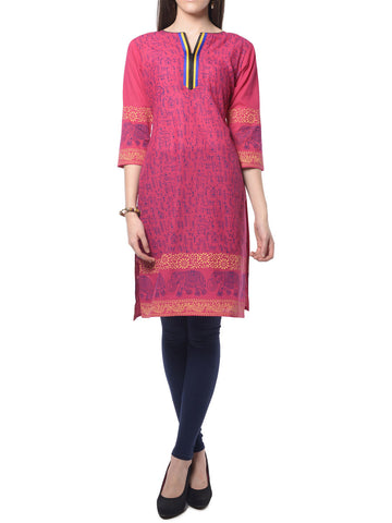 Pink Block Print Cotton Kurta From Jaipur - NPJRKL7FB1