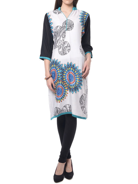 White Printed Rayon Kurta From Jaipur - NPJRKL7FB3