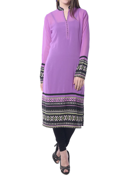 Purple Solid Georgette Kurta From Jaipur - NPJRKL7FB34