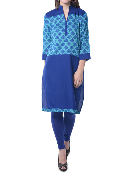 Blue Printed Cotton Kurta  From Bikaner-  NPJRKL7FB39