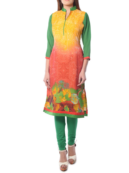 Multi Color Printed Georgette Kurta From Jaipur - NPJRKL26APL9