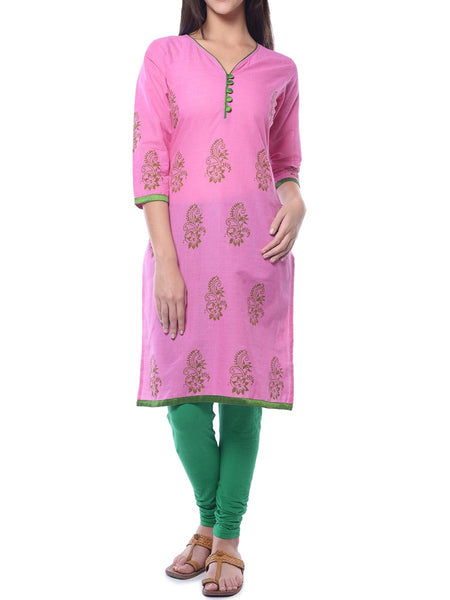 Pink Block Print Cotton Kurta From Jaipur - NPJRKL26APL18