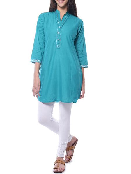 Green Solid Cotton Kurta From Jaipur - NPJRKL26APL21