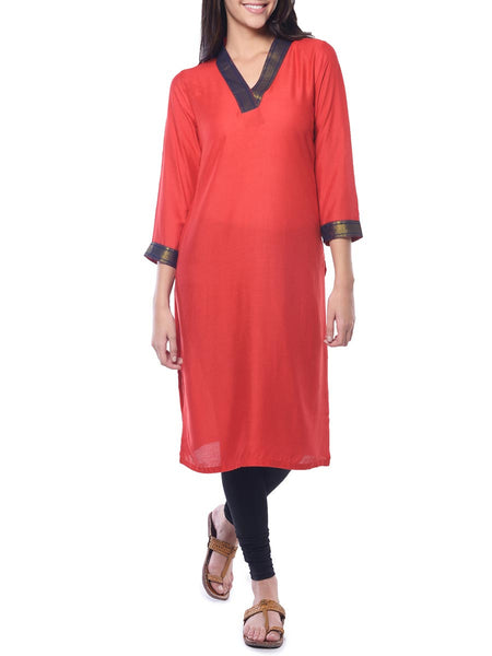 Red Solid Rayon Kurta From Jaipur - NPJRKL26APL22