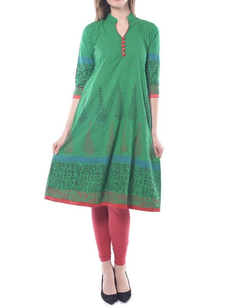 Green Block Print Anarkali Cotton Kurta - NPJRKL10OT4