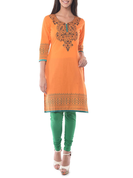Orange Block Print Cotton Kurta-NPJRKL19JN5