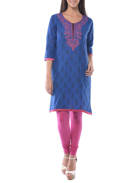 Blue Block Print Cotton Kurta-NPJRKL19JN32